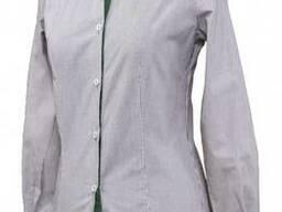 Рубашка официанта в полоску с оливковым воротом и манжетами