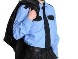 Рубашка охранника голубая с черными вставками