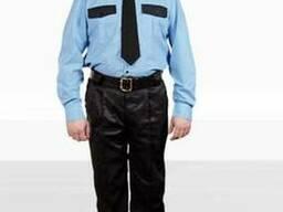 Рубашка охранника голубая с длинным рукавом