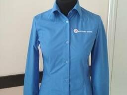 Рубашка женская голубая для сферы обслуживания пошив