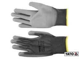Рукавиці робочі нейлонові сірі YATO розмір 9