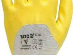 Рукавиці робочі з латексним покриттям жовті YATO розмір 9