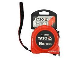 Рулетка YATO 10 м x 25 мм зі сталевою стрічкою і нейлоновим покриттям і подвійним. ..