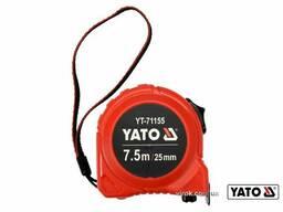 Рулетка YATO 7.5 м x 25 мм зі сталевою стрічкою і нейлоновим покриттям і подвійним. ..