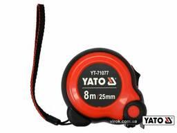 Рулетка YATO 8 м x 25 мм зі сталевою стрічкою і нейлоновим покриттям і подвійним. ..