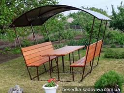 Садовая беседка Уют деревянная, мебель дачная, навес