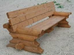 Садовая мебель из оцилиндрованного бревна.