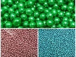 Сахарные шарики зеленые, розовые, голубые, бусинки 5 мм