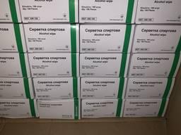 Салфетки дезинфицирующие со спиртовой пропиткой 100 шт