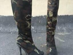 Сапоги камуфляжные на каблуке