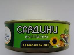 """Сардини Балтійскі ж/б №3, 240гр. ТМ """"Дари Океану"""""""