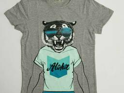 Серая футболка для мальчика с принтом тигра, р. 140