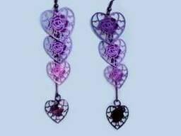 Серьги женские фиолетового цвета