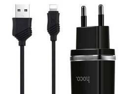 Сетевое зарядное устройство 2USB Hoco C12 Black + USB. ..