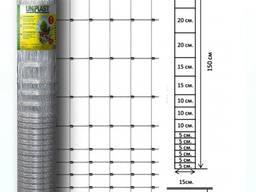Сетка шарнирная 150/15/15 (2.0/2.5мм. ), оцинкованная, высота 1.5 м. длина 50 м. Унипласт