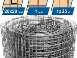 Сетка сварная оцинкованная 20x20x1 мм h=1 мм
