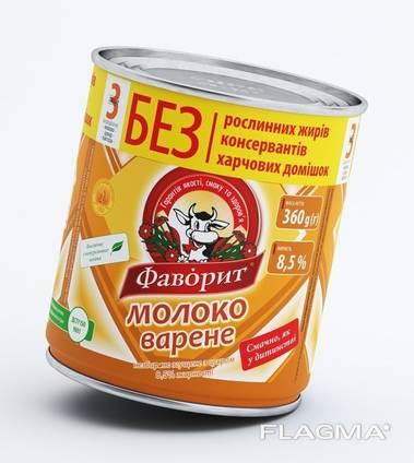 """Сгущенное молоко вареное """"Фаворит"""" (экспорт/Украина)"""