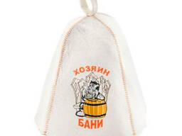 Шапка для сауны с вышивкой 'Хозяин бани ', Saunapro