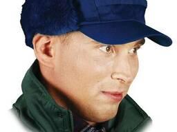 Шапка ушанка зимняя утепленная синего цвета