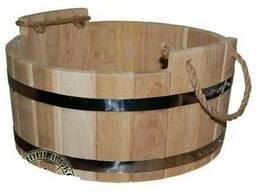 Шайка для бани дубовая, 12 л (d40см*h17 см) М