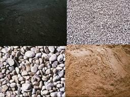 Щебень, песок речной, отсев, бут, овражный песок