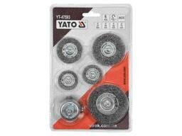 Щітки зачисні з нержавіючої сталі YATO Ø37/50/62/75 мм 4500 об/хв зі шпинделем Ø6 мм 6 шт