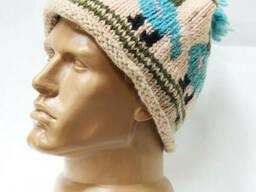 Шерстяная шапка вязаная Pompon с узором птица и полосами