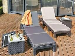 Шезлонг садовый Daytona матрас, пляжный лежак из ротанга
