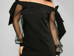 Шикарное вечернее платье с открытыми плечами