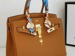 Шкіряна жіноча сумка в стилі Hermes Birkin Люкс, фірмова упаковка! 30 см Теракота