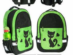 Школьный рюкзак для девочки Кошка салатовый, ткань кринкл. ..