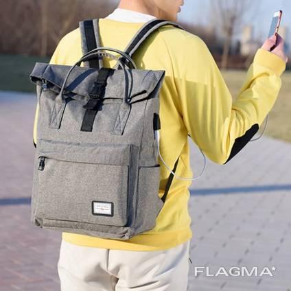 Школьный рюкзак - сумка с USB зарядкой (серый)
