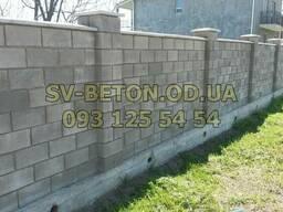 Шлакоблок, камень строительный, заборный, размер 39х19х19