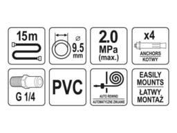 Шланг пневматичний YATO на котушці з автозмотуванням 9. 5 мм 15 м