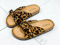 Шлепки женские Bow леопард 1070