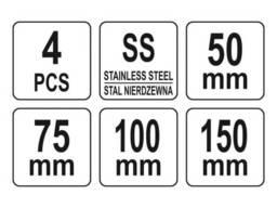 """Шпателі """"японські"""" з нержавійочої сталі YATO : 50/75/100/150 мм, 4 шт"""