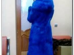Шуба из натурального меха синий кролик
