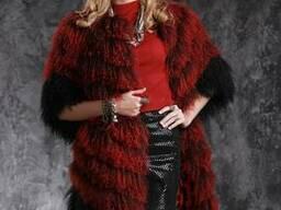 Шуба жилет из испанской ламы цвета бордо.