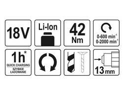 Шуруповерт-дриль безщітковий акумуляторний YATO Li-Ion 18 В 42 Нм (без акумулятора і. ..