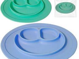 Силиконовая детская тарелка 27х19, 6х2 см Смайл Snt 3200-44