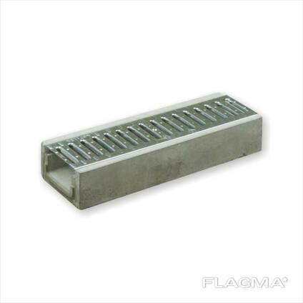Лоток водоотводный пластиковый с решеткой DN100 H95 класс А оцинкованная решетка