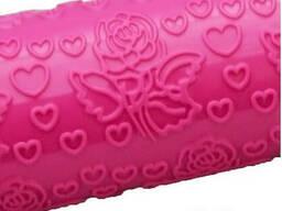 Скалка текстурная пластиковая 25 см Сердечки и Розы Empire М-8974