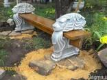 Скамейка бетонная садовая, лавочка парковая, скамья уличная - фото 2
