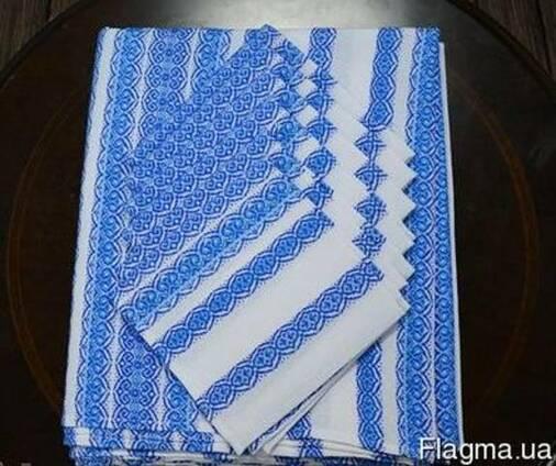 Скатерть из салфетками, синий, 230х140, набор столовый