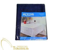 Скатертина з атласним малюнком Acelya, темно-синій код 6854