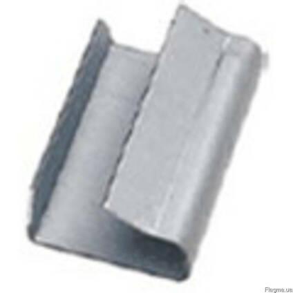 Скоба, скрепа металлическая для п/п лент 13, 16, 19 мм