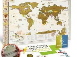 Скретч-карта мира 3-в-1 Европы, Азии/Океании scratch map