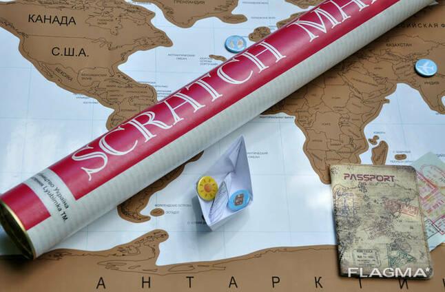 Скретч карта мира (Scratch Map) на русском языке с гербом. ..