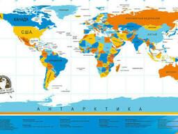 Скретч карта мира (Scratch Map) на русском языке с гербом. .. - фото 2
