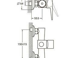 Смеситель HK Ø35 для душа Aquatica (HK-1D130C)